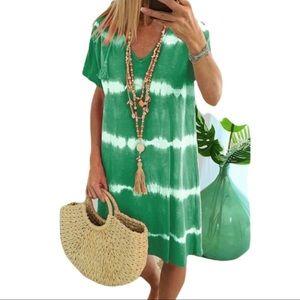 🆕Short Sleeve Beach Tie Dye Printed Dress Size 2X